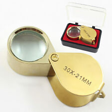 30 X 21 Jewelers Magnifier Magnifying Glass Eye Loupe Gold Jewlery Fashion+Case