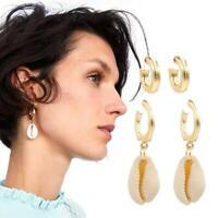 Fashion Women Gold Alloy Irregular Shell Pendant Statement Drop Earrings Jewelry