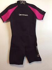 Lemorecn Wetsuit Women's Premium Neoprene 3mm Shorty Jumpsuit Black/Red Size 10