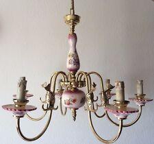 Latón Antiguo Francés & Porcelana 6 Brazo Lámpara de techo de diseño floral de pescado