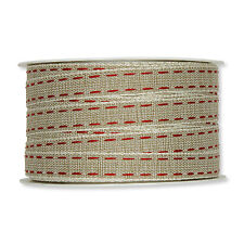 """Natural 12mm/0.5"""" Fabric Ribbon with Red Linen Lockstitch Design  x 30m/33yds"""
