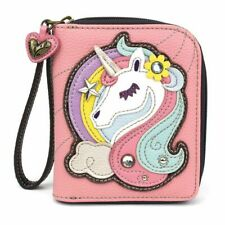 Chala ZIP AROUND WALLET Credit Card Faux Leather UNICORN Pink Wristlet gift
