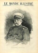 Portrait de Otto von Bismarck duc de Lauenburg Dessin Vuillier 1890 ILLUSTRATION