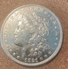 1921-D Morgan Silver Dollar; Old Coin; Likely cleaned
