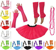 Neon UV Tutu Set Skirt Gloves Leg Warmers Beads Womens 80s Fancy Dress Costume