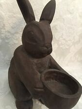 """Wood Carved Rabbit Tea Light Candle Holder Folk Art 8"""" Primitive Rustic"""