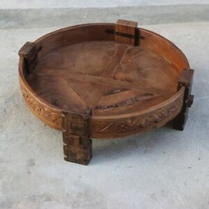 MADE TO ORDER INDIAN Hand Made Tribal Chakki Antique Carved Coffee Table NATURAL