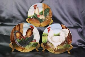 ON THE FARM Rooster Salad Plates Sakura David Carter Brown Set of 3