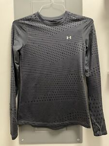 Womens Under Armour Cold Gear Fitted Athletic Gray Shirt M Medium Long Sleeve