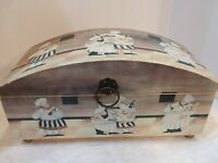 Large Chef Decorated Wood Box Kitchen Storage Recipe Box Hinged Lid 13x7x6