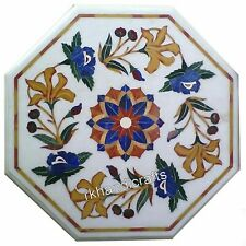 14 Inch White Marble Side Table Top Inlay End Table with Flower Design for Home