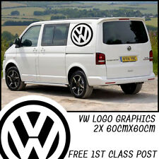 2x 60cm VW Transporter Camper Van Logo Graphic Large Graphics Decals T4 T5 Caddy