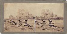 Pont de l'Archevêché et Notre-Dame de Paris Photo Stereo Vintage albumine c1855