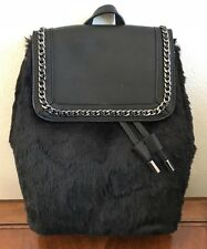 Jessica Simpson Womens Kaelo Backpack Purse Bag Black Faux Fur JS53393