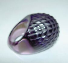 Authentic $375 LALIQUE Purple Serpent Snake Texture Crystal Large Ring T54 7 NIB