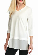 NEW EILEEN FISHER Silk Chiffon & Jersey V-Neck Top  Size S, Soft White $258