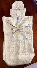 Vintage Pale Yellow Baby Quiltex Bunting Infant Sleep Sack & Hat
