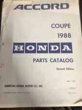 1988 Honda Accord Coupe Parts Catalog Second Edition