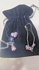 Swarovski Signed Silver tone USA Heart FLAG Bracelet,Necklace Brooch Set BAG 334