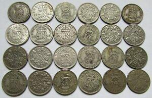 Royaume-Uni - Lot de 24 pièces de six pence en argent