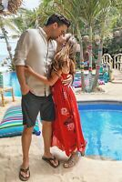 Beau Causal Slip Midi Dress Free People Intimately Printed Smocked Red M New