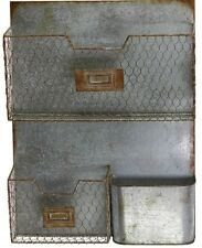 "Galvanized Metal Triple Wall Pocket Organizer File Holder w/ Hooks 13"" x 21"