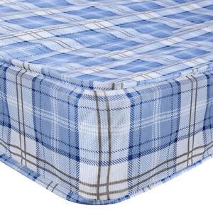 Blue Tartan Foam Sprung Bunk Guest Bed Mattress 2FT6 3ft 4FT6 Single Double New