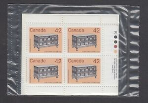 CANADA SEALED PLATE BLOCKS 1081 ARTIFACT DEFINITIVES, LINEN CHEST, APL, ROLLAND