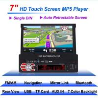 "Single 1 DIN 7 ""HD Flip Up Touch Mirror Link Car Stereo Radio MP5 Camera GPS"