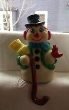 VINTAGE SNOWMAN SHELF SITTER HARD PLASTIC CHRISTMAS STOCKING HANGER HOLDER