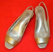 Anne Klein iFlex Slingback Sandals Shiny Beige Champagne Leather Open Toe Sz 6.5