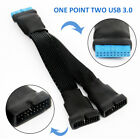Motherboard 19-pin to USB 3.0 20pin 1 to 2 Power Mainboard Extension Cable Cord*