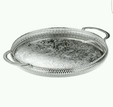 35cm Silver Plated Round Gallery Tray Serving Tray Tarnish Resistant Made In UK