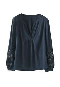 RRP £99, NEW WRAP LONDON NAVY Embroidered blouse Fine cotton