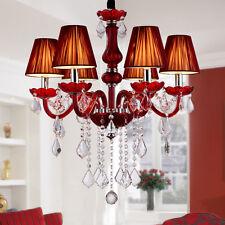 Modern Red Crystal Chandelier Pendant Light Ceiling Lamp Living room Lighting