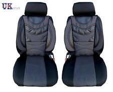1+1 PREMIUM BLACK PADDED FRONT SEAT COVERS CUSHION UNIVERSAL CAR VAN MOTORHOME