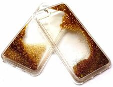 For iPhone 7 Gold Glitter Hearts Liquid Waterfall Sparkle Rubber Silicone  Case