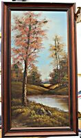 Original Oil on Canvas, New England Autumn Scene, Illegible Signature, Framed