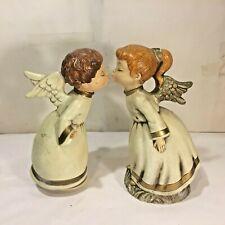 Vtg Mcm Xmas Kissing Angels Boy Girl Plastic Composition Music Box Figurine