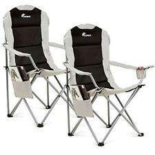 Camping Chairs Set Of 2 Folding Deluxe Padded With Cup Holder And Side pocket