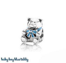 Pandora Genuine ALE 925 Teddy Baby Boy Blue Bow Charm 791124EN41