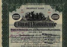 City of Providence Rhode Island 5 Color Bond Stock Certificate Set