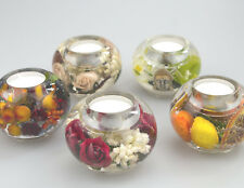 Botanical glass T light holder with real botanical pieces Ball shape
