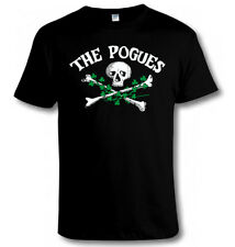 THE POGUES Skull & Crossbones & Shamrocks T SHIRT Irish Punk Music Tribute Tee