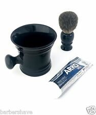 Men's Pure Badger Hair Brush Arko Shaving Cream & Ceramic Apothecary Mug Set 3X
