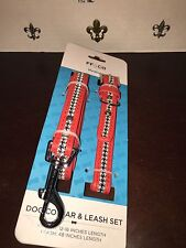 NEW FF&Co Matching Dark Pink Faux Leather/ Houndstooth Dog Collar/ Leash Medium