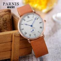 Parnis Men's Casual Watch Miyota Quartz Movement Wristwatch 40mm Rose Gold Case
