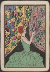 Playing Cards Single Card Old Vintage Wide * BEVIS FABRICS  Advertising Art GIRL