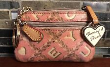 VTG DOONEY & BOURKE Hearts Change Coin Purse Key Ring Pink Heart Charm