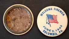 WW2 Vintage FIREMAN DAY Patriotic Flag POLITICAL Campaign Pinback Button Pin